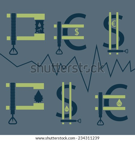 dollar, euro and oil barrel in clamp ,financial concept - stock vector