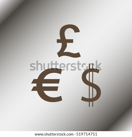 Dollar, Euro and Pound icons.