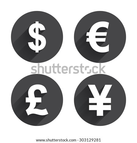 Dollar Euro Pound Yen Currency Icons Stock Vector 370939469
