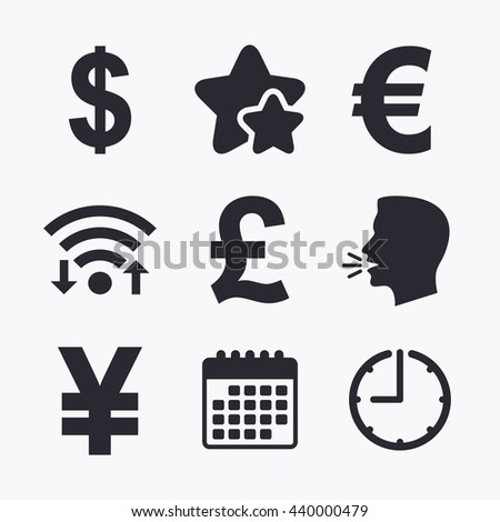 Dollar, Euro, Pound and Yen currency icons. USD, EUR, GBP and JPY money sign symbols. Wifi internet, favorite stars, calendar and clock. Talking head. Vector - stock vector