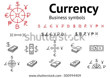 Dollar, Euro, Pound, Yen, Ruble, Rupee, Shekel, Peso, Bitcoin currency icons set. USD, EUR, JPY,  GBP, RUB, INR, ILS, money sign symbols. Finance web buttons. Red and black on white. Vector isolated  - stock vector