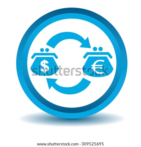 Dollar-euro trade icon, blue, 3D, isolated on white - stock vector