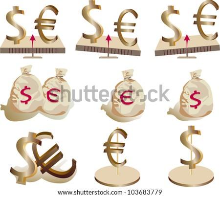 dollar eurodollar - stock vector