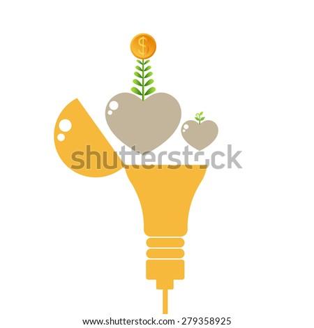 Dollar fly from idea lamp. Success money idea, Open light bulb with dollar coin, Business growing money concept. Vector illustration - stock vector