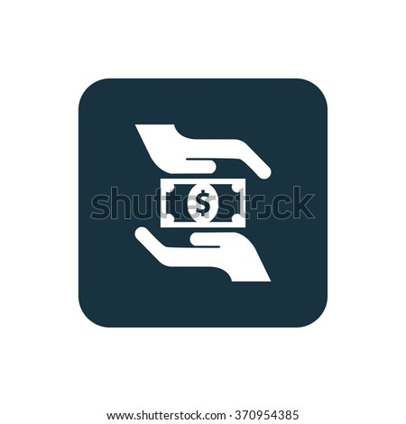 dollar hand icon, on white background - stock vector