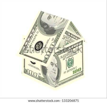 Dollar house on a white background
