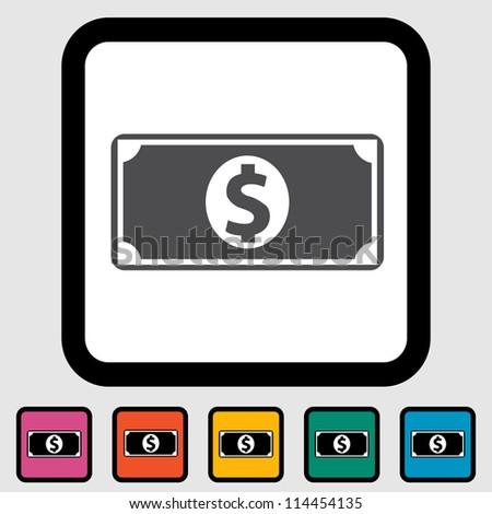Dollar icon, black silhouette. Vector illustration EPS 8. - stock vector