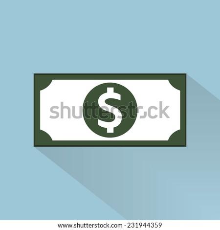 Dollar icon , Flat design, long shadow icon. - stock vector