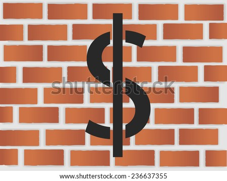 Dollar on a brick wall illustration - stock vector