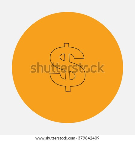 Dollar Outline vector icon on orange circle. Flat line symbol pictogram