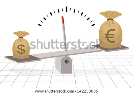 dollar outweighs euro on seesaw, financial concept - stock vector