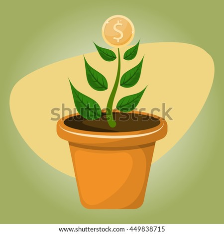 Dollar plant colorful icon