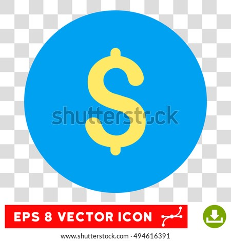 Dollar round icon. Vector EPS illustration style is flat iconic bicolor symbol, yellow and blue colors, transparent background.