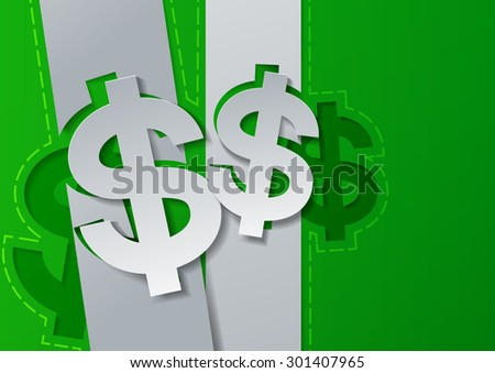 Dollar Sign Cut from White Paper on Green Background, Vector Illustration