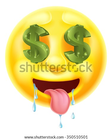 Dollar sign eyes drooling emoticon emoji character icon - stock vector