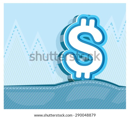 dollar sign  graphic on graph background - stock vector