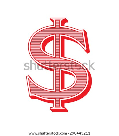 Dollar sign icon. USD currency symbol in vintage style - stock vector