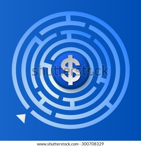 Dollar Sign in The Circle Maze on Blue Background, Vector Illustration - stock vector