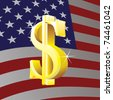 Dollar sign on us flag background - illustration - stock photo