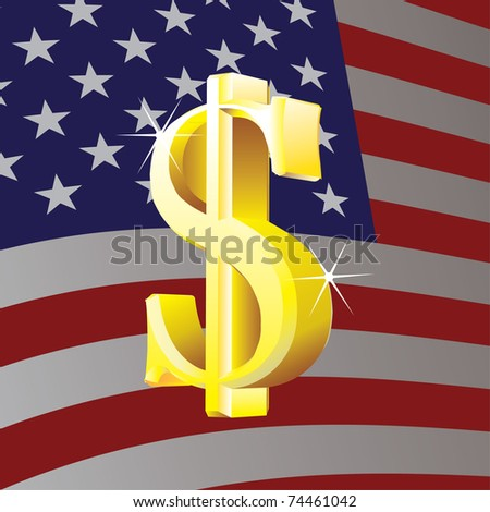 Dollar sign on us flag background - illustration - stock vector