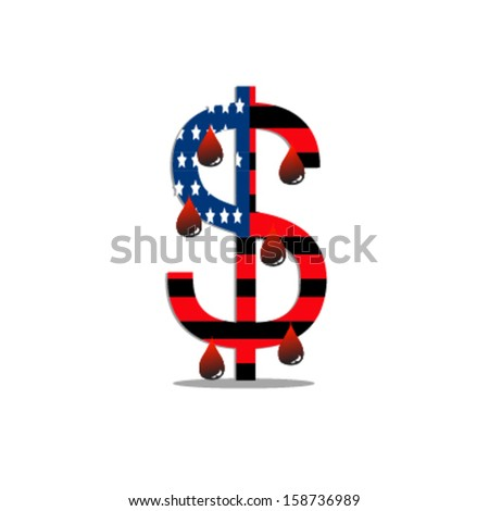 Dollar sign with the American / US flag and blood,financial concept - stock vector