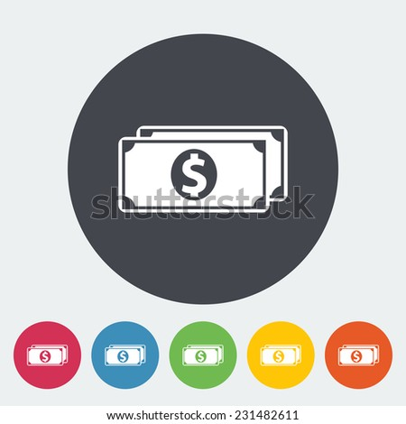 Dollar. Single flat icon on the circle. Vector illustration. - stock vector