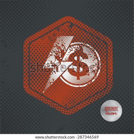 Dollar,stamp design on old dark background,grunge concept,vector - stock vector