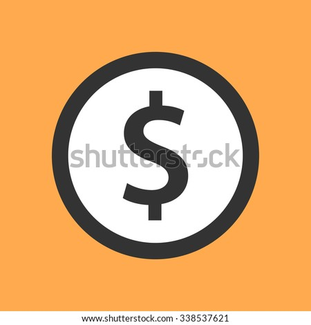 Dollar symbol in flat design. - stock vector