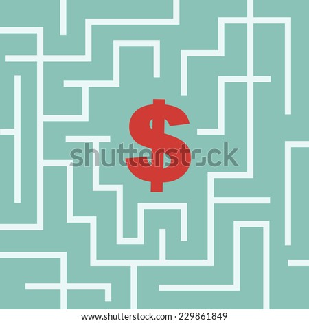 Dollar symbol in the maze - stock vector