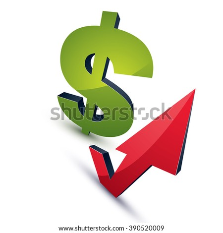 Dollar symbol with an arrow in the shape of checkmark pointing up. Business growth trend vector 3d sign, financial investments conceptual icon. - stock vector