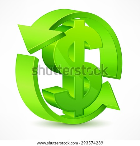 Dollar symbol with arrow on white, vector illustration infographic - stock vector
