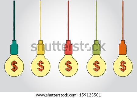 Dollar symbol with light bulbs  making idea - stock vector