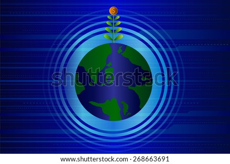 Dollar tree growing on a global. Concept of global trade. Vector illustration. - stock vector
