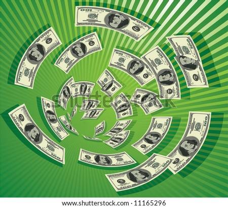 Dollar vortex#2 - stock vector