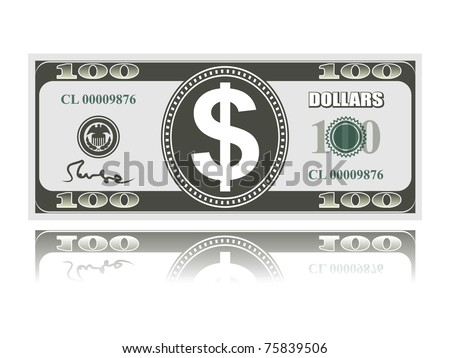 dollar with reflection on white background, vector EPS 8