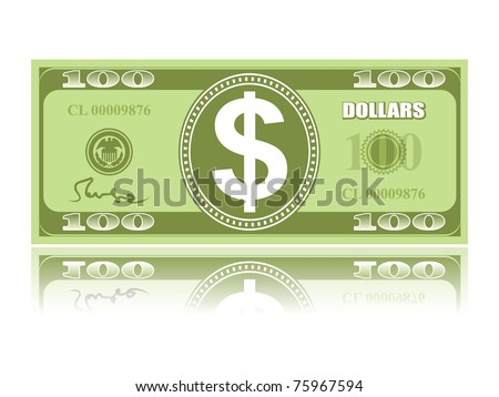 dollar with reflection on white background, vector EPS 8 - stock vector