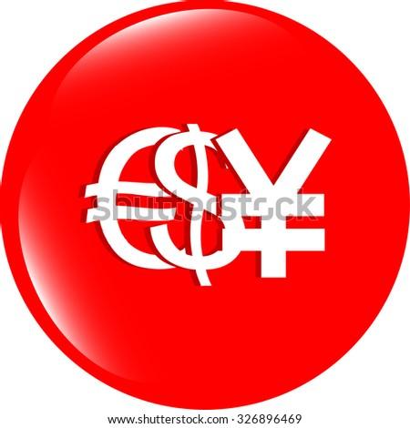 dollar yen and euro money sign button, web icon vector illustration - stock vector
