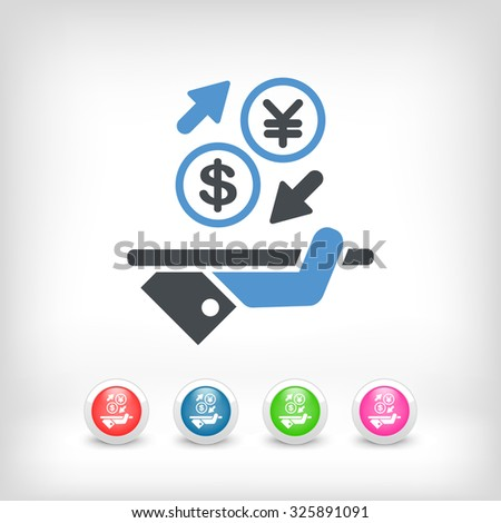 Dollar/Yuan - Foreign currency exchange icon - stock vector