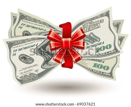 dollars bank notes, tied a red ribbon with a bow, the concept of success, vector editable - stock vector