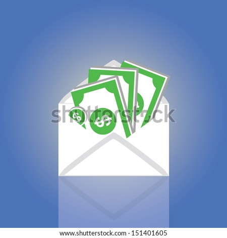 Dollars in an envelope vector cartoon style  - stock vector