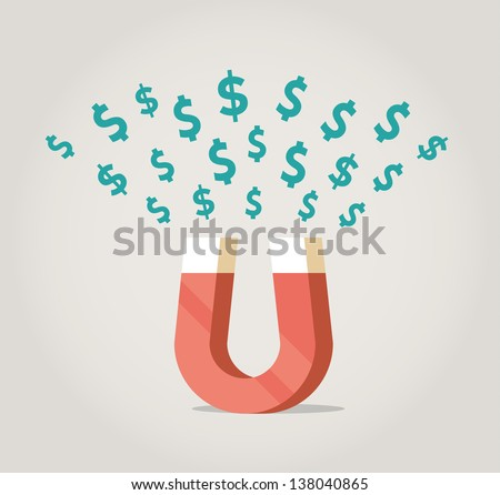 Dollars magnet. Abstract magnet of success, attracting money - dollars. Concept for success, economic growth, big profit. - stock vector