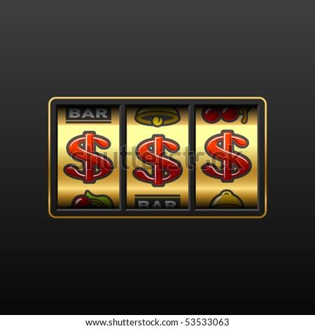 Dollars on slot machine. Vector. - stock vector