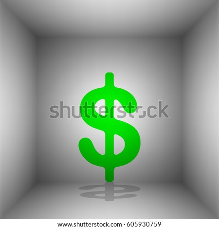 Dollars sign illustration. USD currency symbol. Money label. Vector. Green icon with shadow in the room.