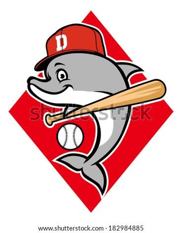 dolphin baseball mascot - stock vector