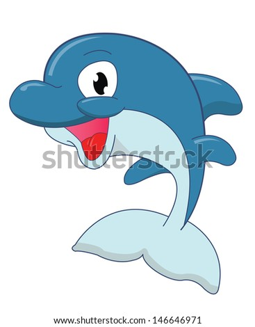 Dolphin cartoon isolated on white background - stock vector