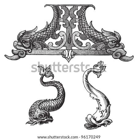 Dolphin decorative elements / vintage illustration from Meyers Konversations-Lexikon 1897 - stock vector