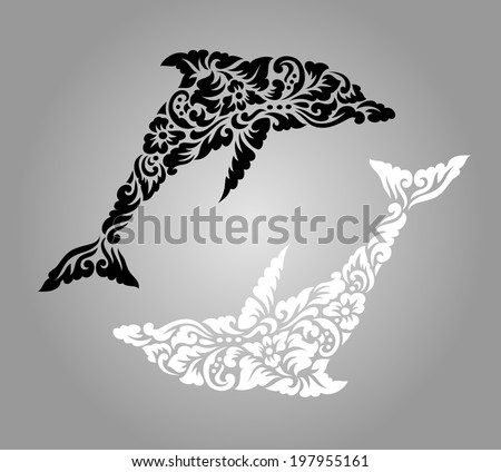 Dolphin floral ornament decoration. Nice, clean and smooth vector. Dolphin with decorative traditional flourish ornate. Good use for tattoo, sticker, symbol, or any design you want. Easy to use. - stock vector