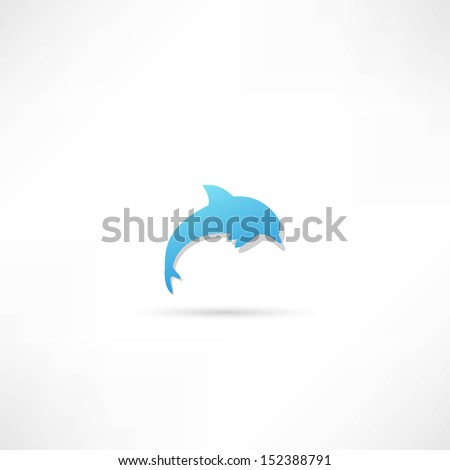 dolphin icon - stock vector