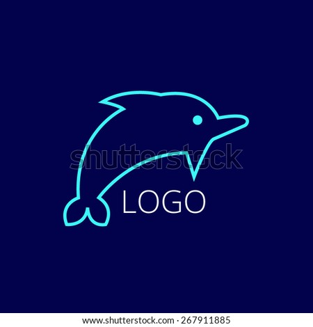 Dolphin icon, isolated, Exclusive Symbols lineart logo  - stock vector
