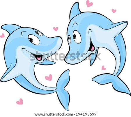 dolphin in love - stock vector